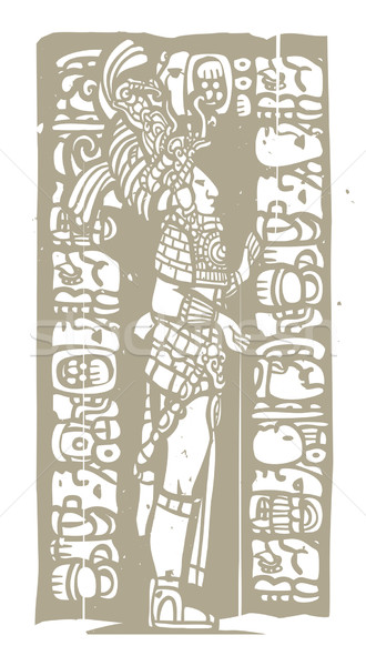 Standing Mayan Woodblock Stock photo © xochicalco