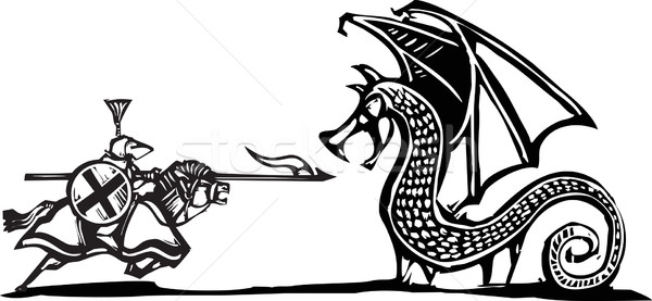 Mounted Knight and Dragon Stock photo © xochicalco