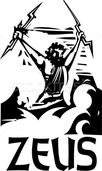 Woodcut Zeus text Stock photo © xochicalco