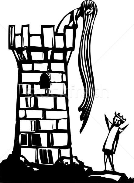 Toren sprookje afbeelding lang haar liefde kind Stockfoto © xochicalco