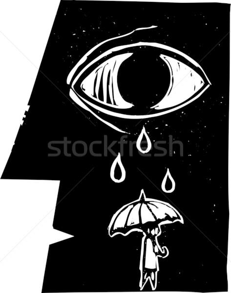 Paraguas lágrimas perfil cara caída Foto stock © xochicalco