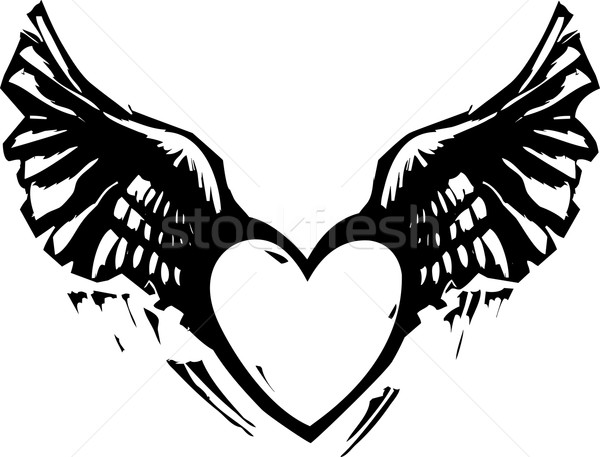 Coeur blanc noir style image ailes amour Photo stock © xochicalco