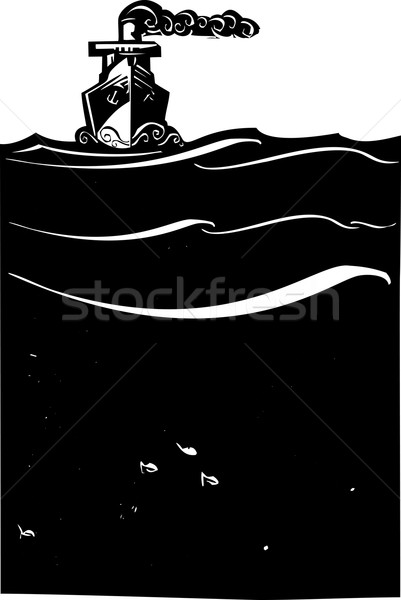 пар судно морем стиль изображение art deco Сток-фото © xochicalco