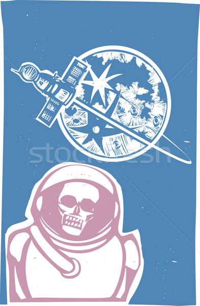 зомби космонавт советский плакат стиль изображение Сток-фото © xochicalco