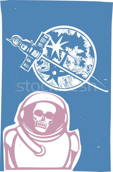 Сток-фото: зомби · космонавт · советский · плакат · стиль · изображение