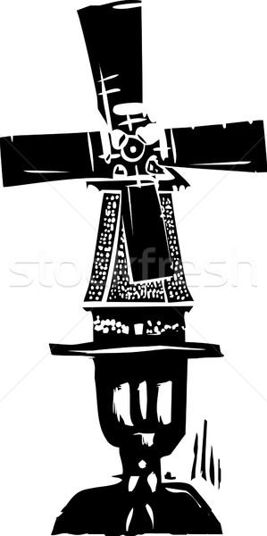 E estilo imagem velho holandês moinho de vento Foto stock © xochicalco