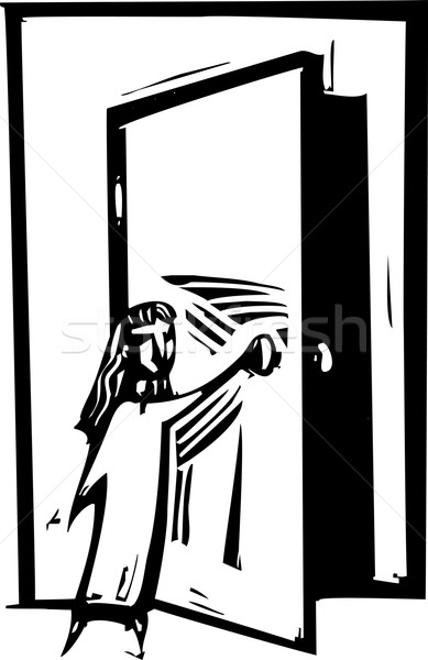 Open deur stijl expressionistische afbeelding meisje opening Stockfoto © xochicalco