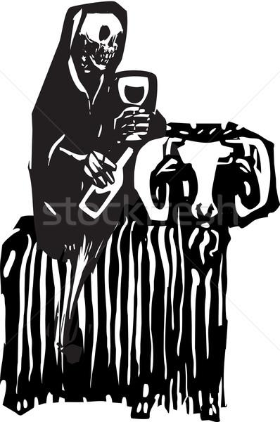 ölüm keçi stil görüntü içme Stok fotoğraf © xochicalco