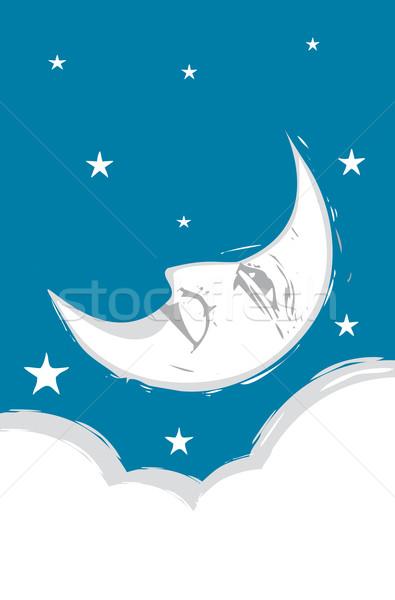 Beyaz bulutlar Yıldız gökyüzü ay Stok fotoğraf © xochicalco