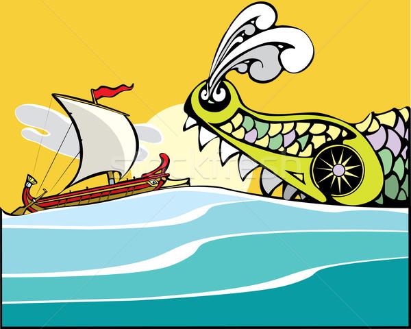 Greek Ship and Sea Monster. Stock photo © xochicalco
