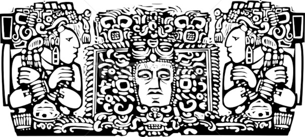 Maya Triptych Woodblock A Stock photo © xochicalco