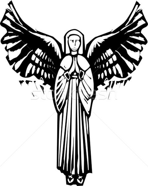 женщину молиться стиль изображение ангела Сток-фото © xochicalco