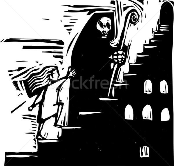 Morte escada pequeno menina escalada passos Foto stock © xochicalco