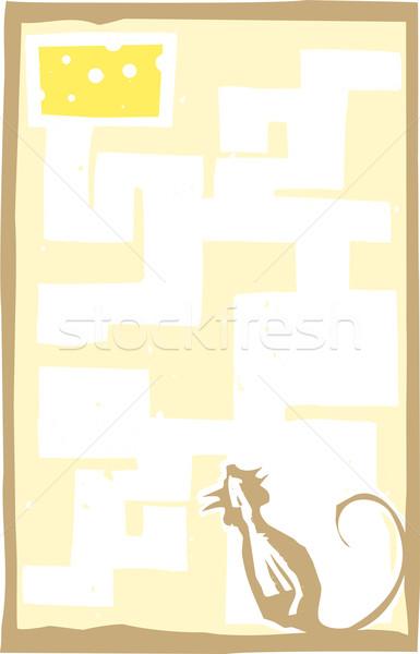 Klein muis doolhof stijl expressionistische afbeelding Stockfoto © xochicalco