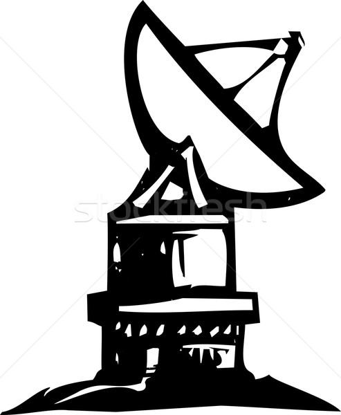 Radio Telescope Woodcut Stock photo © xochicalco
