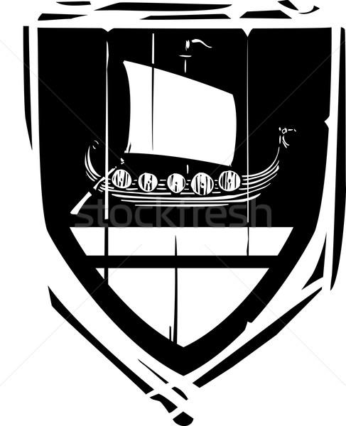 Heraldic Shield Viking Longship Stock photo © xochicalco