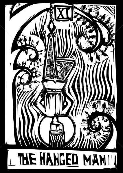 Tarot karty człowiek obraz drzewo śmierci Zdjęcia stock © xochicalco