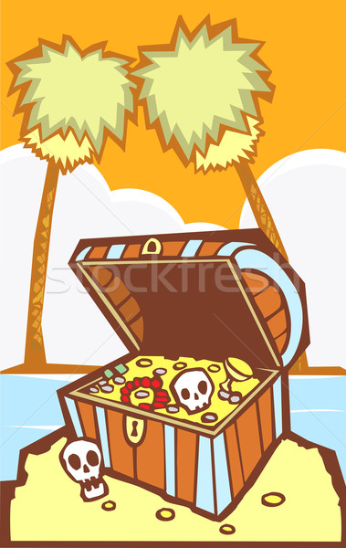 Stock photo: Treasure Chest with Palm trees