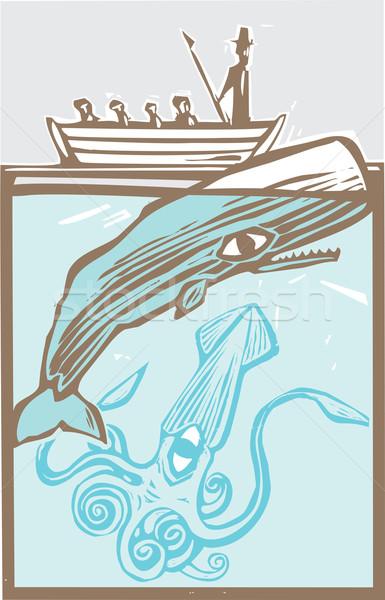 イカ ボート 鯨 巨人 海 ヴィンテージ ストックフォト © xochicalco