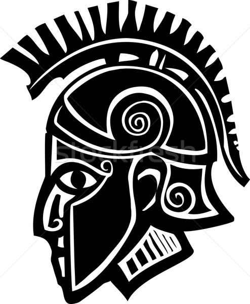 Spartaans soldaat profiel stijl klassiek bronzen Stockfoto © xochicalco