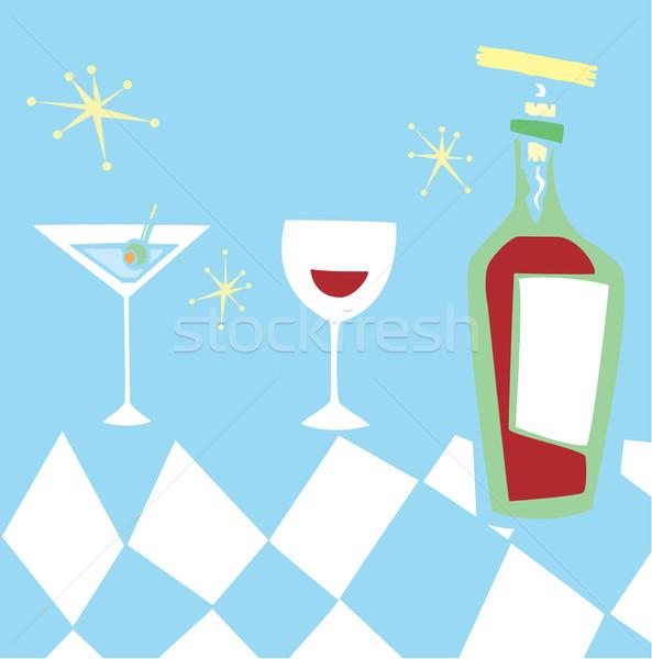 Retro bebidas espaço idade grupo vinho Foto stock © xochicalco