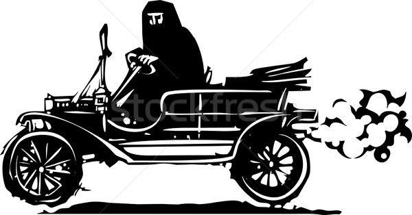 Woman in Hijab or Burka driving a Car Stock photo © xochicalco