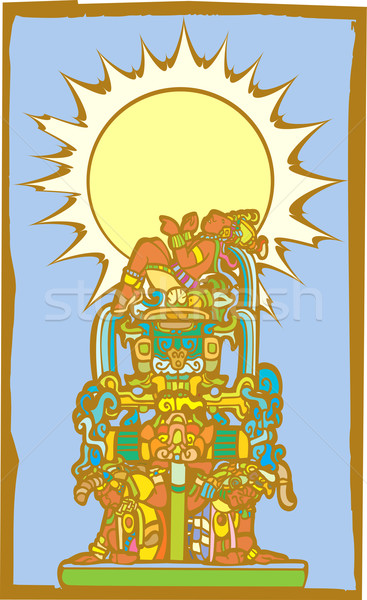 Reclining Mayan with Sun Stock photo © xochicalco
