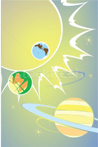 Sistemul solar retro imagine planete cer Imagine de stoc © xochicalco