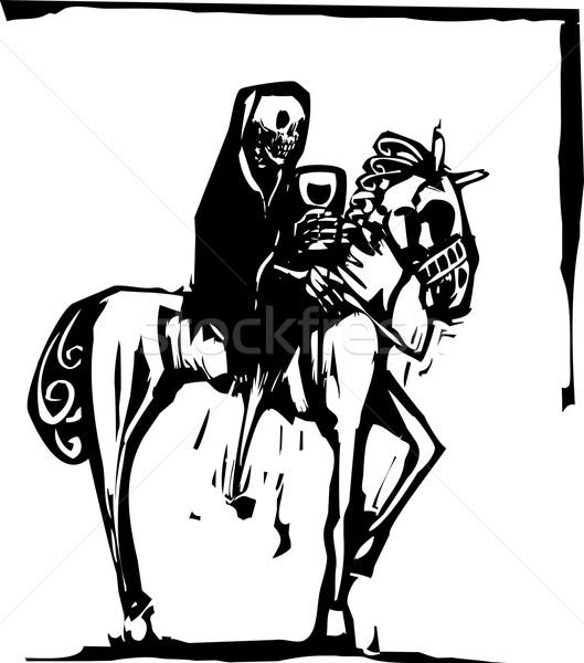 Death drinking wine on Horse Stock photo © xochicalco