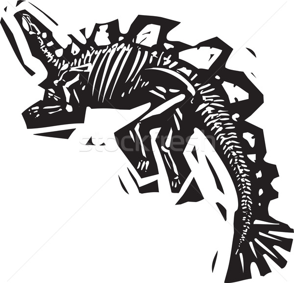 Fossiel stijl afbeelding onderwijs geschiedenis botten Stockfoto © xochicalco