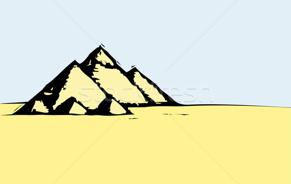 Egyptian Desert Pyramids Stock photo © xochicalco