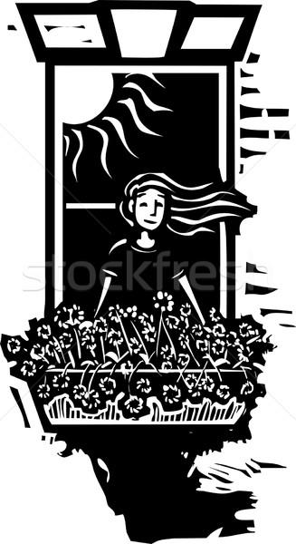 ウィンドウ 花 少女 スタイル 画像 成長 ストックフォト © xochicalco