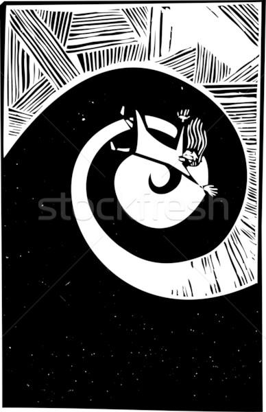 Düşen spiral kadın gelecek stres rüya Stok fotoğraf © xochicalco