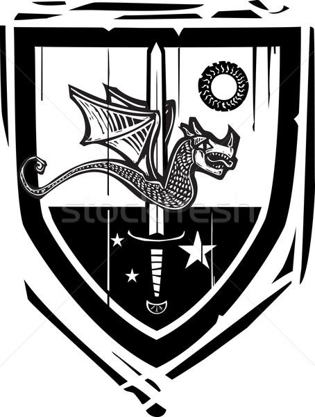 Heraldic Shield Dragon and Sword Stock photo © xochicalco