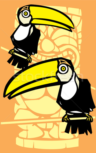 Two Toucans and Tiki Stock photo © xochicalco