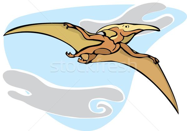 Dinosauro battenti up nubi denti volare Foto d'archivio © xochicalco