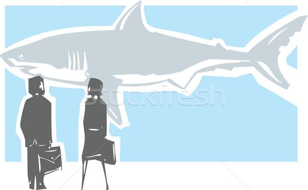 Perigoso tubarão reunião estilo imagem homem de negócios Foto stock © xochicalco