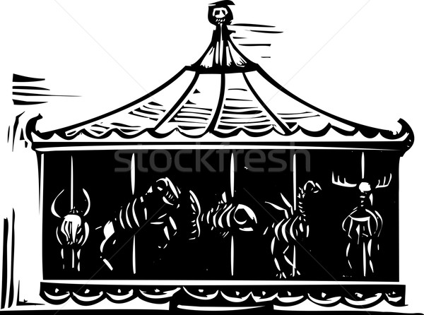 Dood carrousel stijl expressionistische afbeelding circus Stockfoto © xochicalco