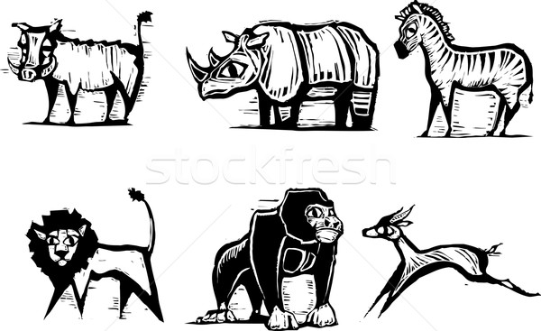 African Animal Group #2 Stock photo © xochicalco