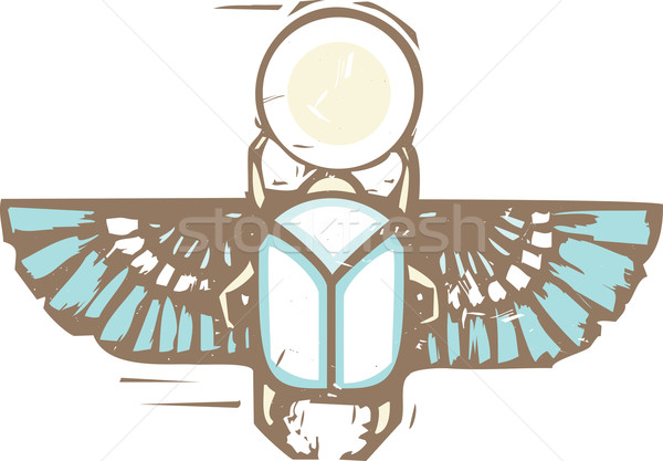 Egyptian Distressed Winged Scarab Stock photo © xochicalco