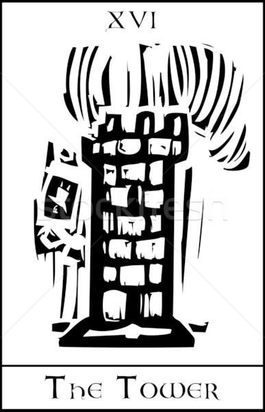 Tour tarot carte expressionniste style nombre Photo stock © xochicalco