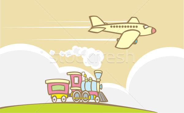Train and Jet Plane Stock photo © xochicalco