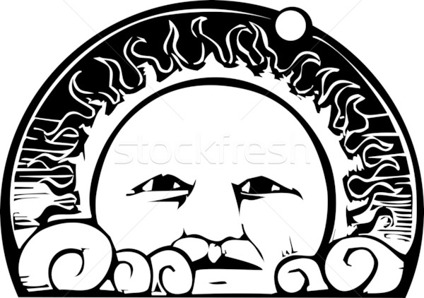Sun Face and Planet Orbit Stock photo © xochicalco
