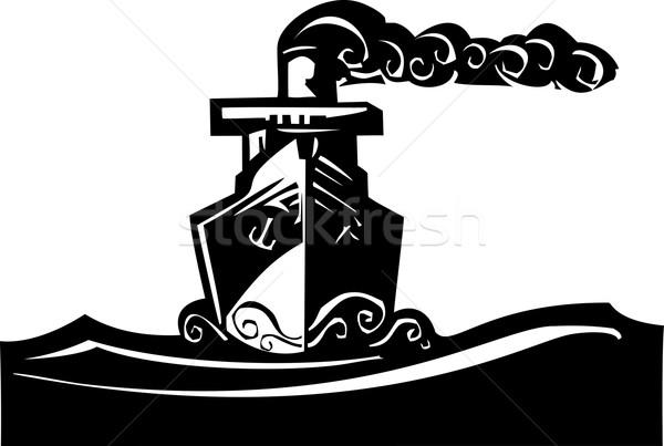 Pary statku stylu obraz art deco ocean Zdjęcia stock © xochicalco