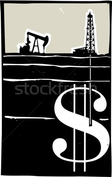 Perfuração dinheiro estilo imagem poço de petróleo para baixo Foto stock © xochicalco