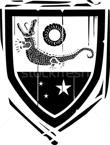 Escudo crocodilo estilo fundo quadro história Foto stock © xochicalco