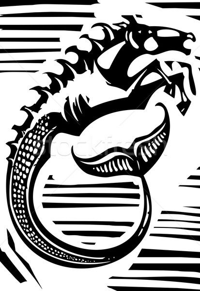 Mitolojik stil görüntü Yunan at deniz Stok fotoğraf © xochicalco