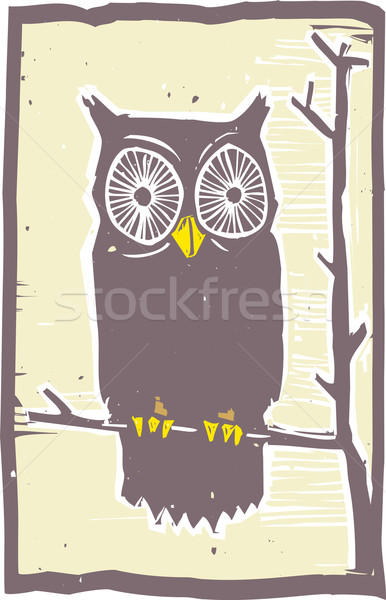 Owl Woodblock Stock photo © xochicalco