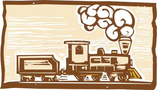 Locomotief stijl afbeelding vroeg trein vintage Stockfoto © xochicalco