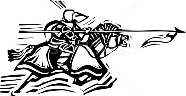 Ridder expressionistische stijl afbeelding paard Stockfoto © xochicalco